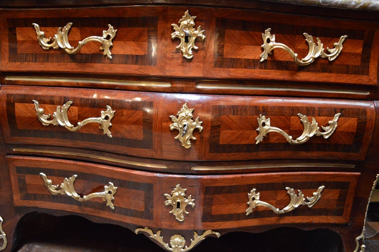 18th century Regency commode with marble top.