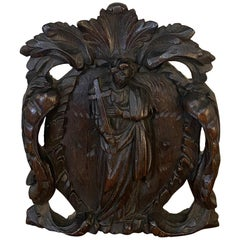 18th Century Relic, Baroque Period Sculpture of Saint in Hand Carved Oak