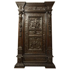 18th Century Renaissance Revival Carved Walnut Wardorbe