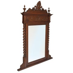 19th Century Renaissance Wall Mirror by Ballario-Asti, Carved and Turned Walnut