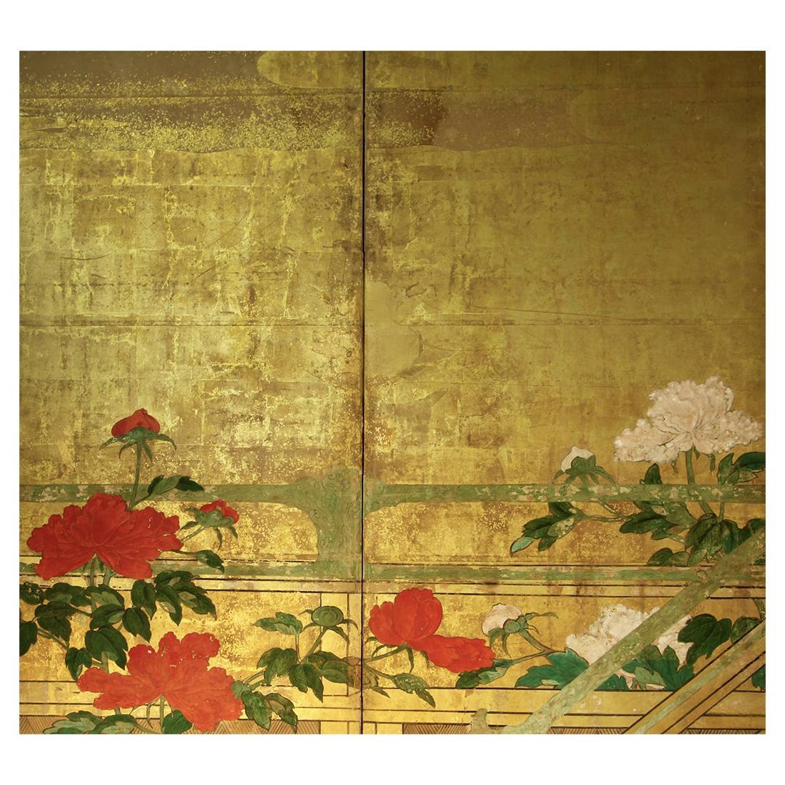 18th Century Rinpa School Japanese Folding Screen Six Panels Rice Paper and Gold