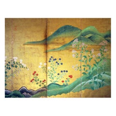18th Century Rinpa School Japanese Landscape Folding Screen Rice Paper Gold