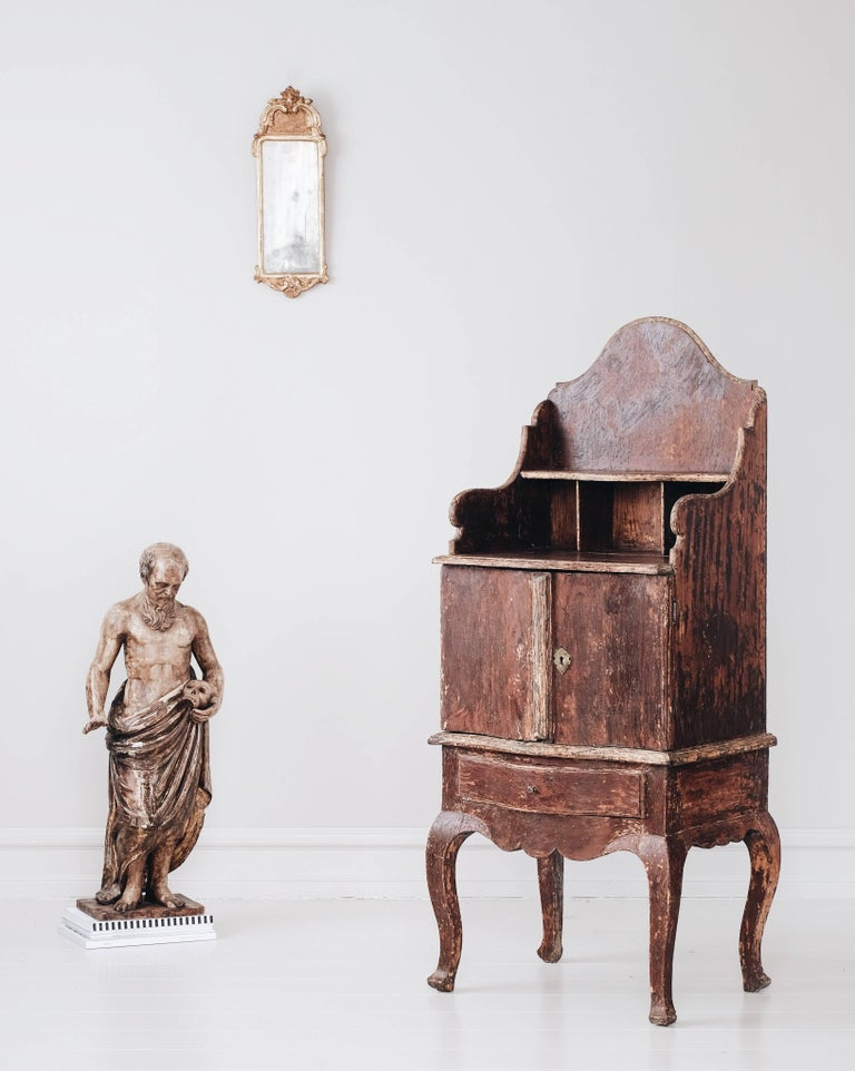 Remarkable and most unusually large 18th century Swedish Rococo bedside cabinet in the original color with one drawer and two doors, circa 1770, Sweden.