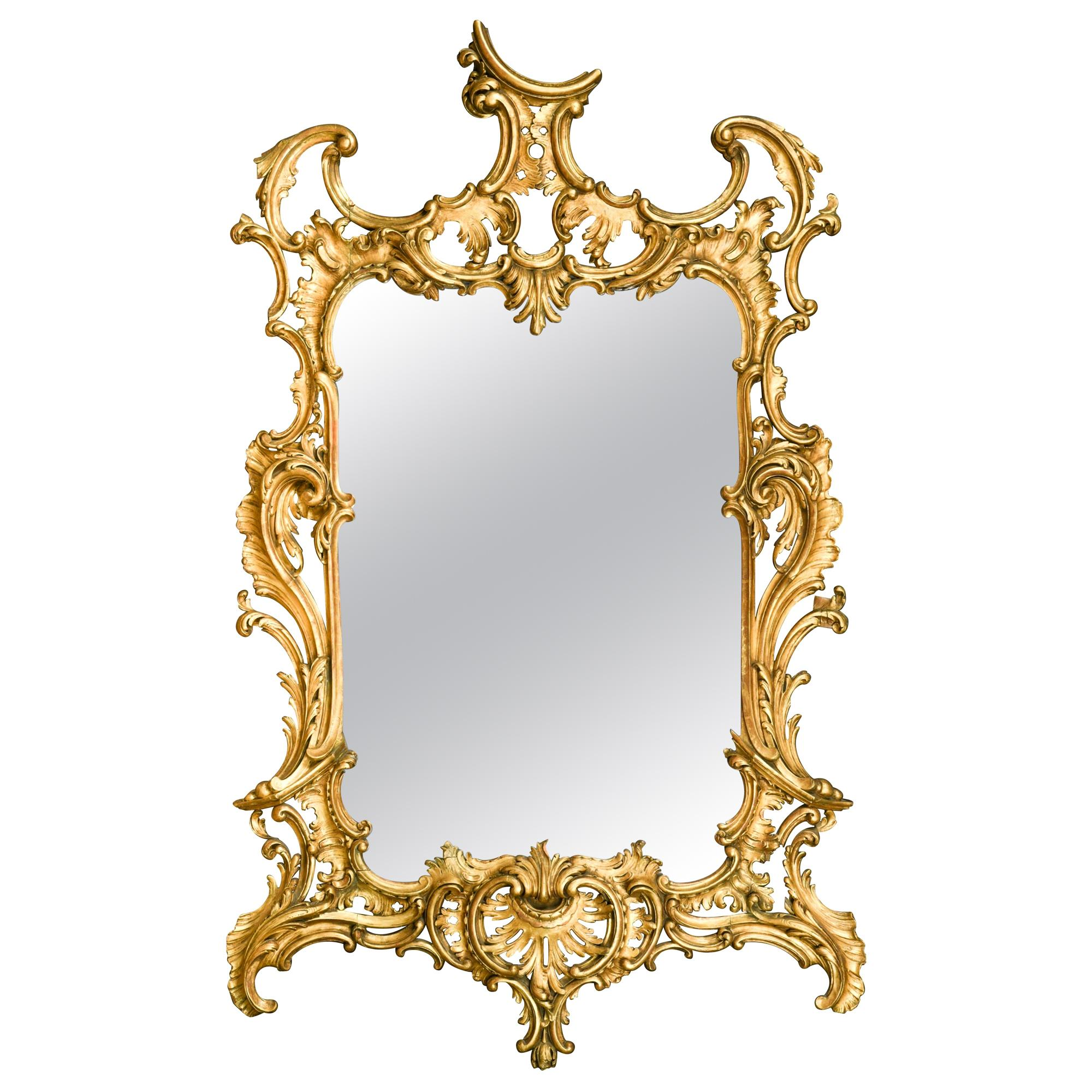18th century Rococo Carved Giltwood Mirror