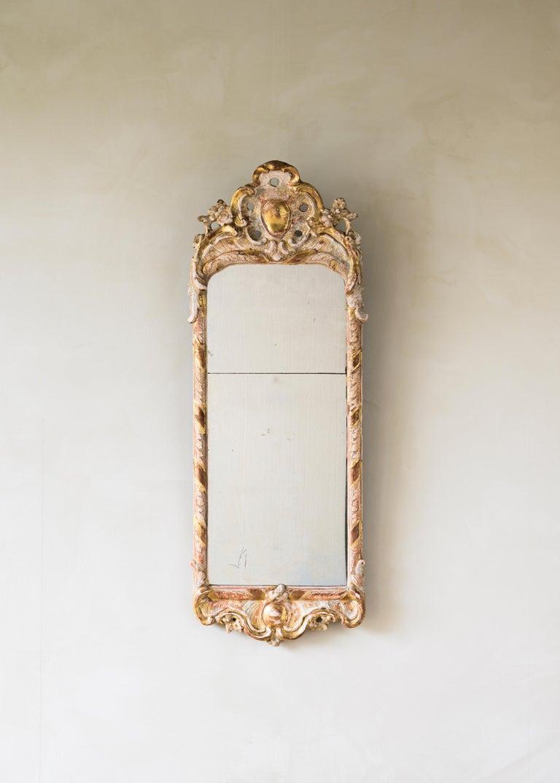 Swedish 18th Century Rococo Giltwood Mirror For Sale