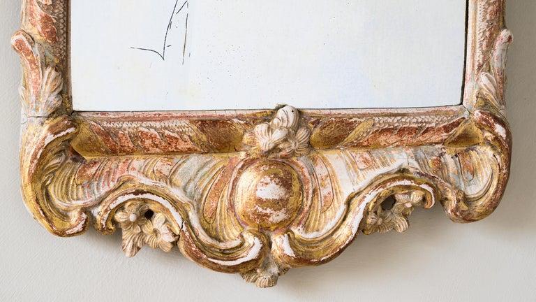 18th Century Rococo Giltwood Mirror In Fair Condition For Sale In Helsingborg, SE