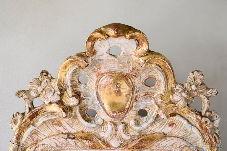 18th Century and Earlier 18th Century Rococo Giltwood Mirror For Sale