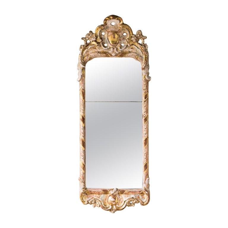18th Century Rococo Giltwood Mirror For Sale