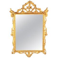 18th Century Rococo Giltwood Wall Mirror, Italy circa 1750