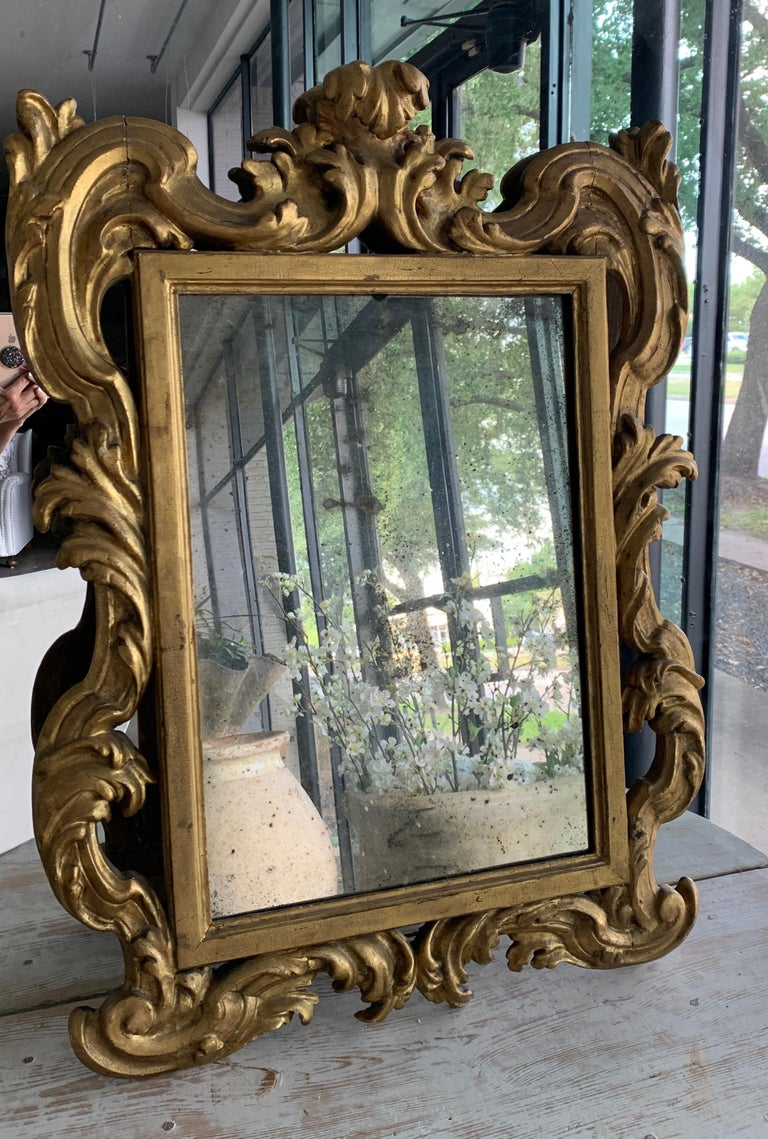 18th Century Rococo Italian Hand Carved Gilt Pair Of Mirrors For Sale 9