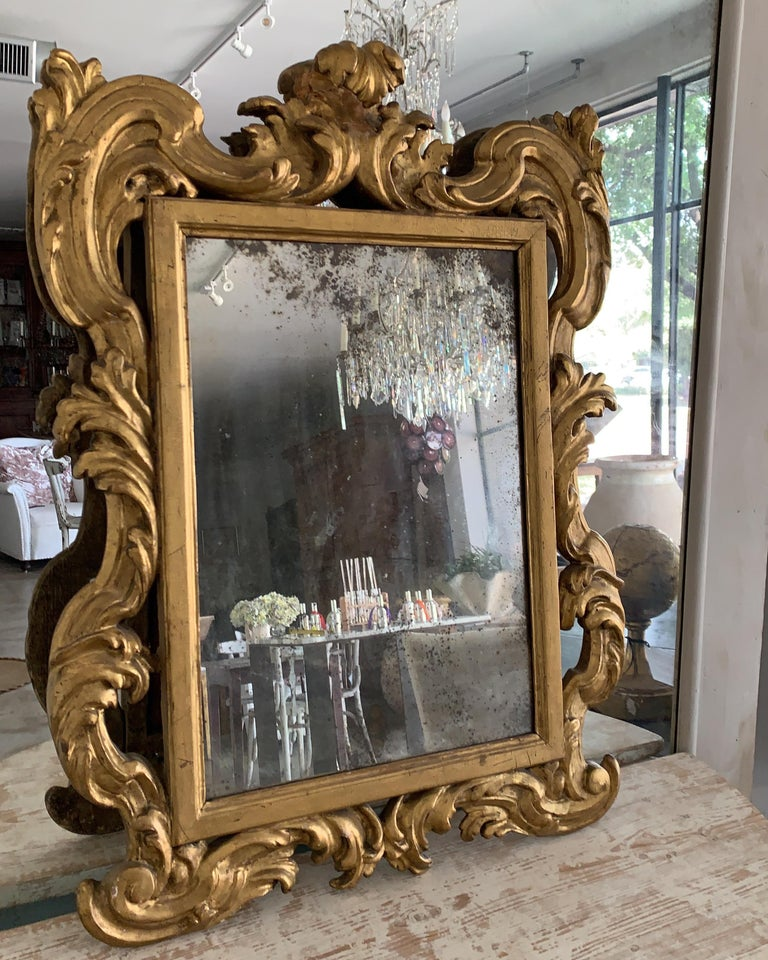 Wood 18th Century Rococo Italian Hand Carved Gilt Pair Of Mirrors For Sale
