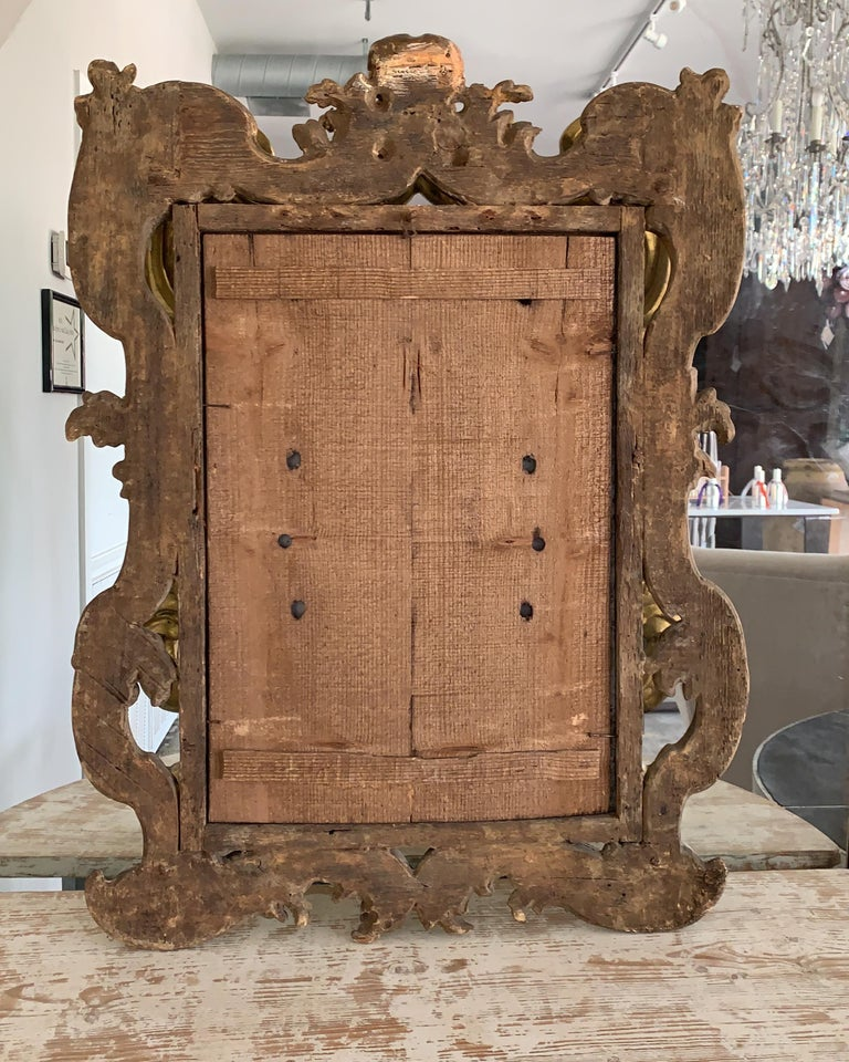18th Century Rococo Italian Hand Carved Gilt Pair Of Mirrors For Sale 3