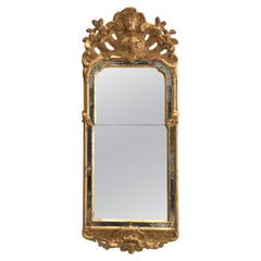 18th Century Rococo Swedish Mirror on Carved and Giltwood