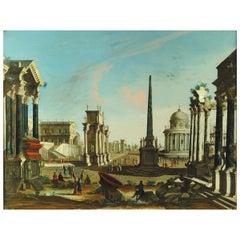 18th Century, Roman Architectural Capriccio Attributed to Francesco Chiarottini
