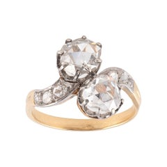 18th Century Rose Cut Diamonds Crossover Ring