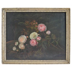18th Century Rose Painting Oil on Canvas