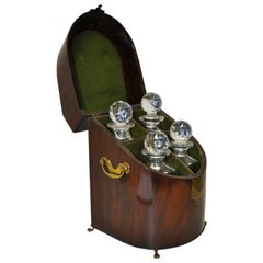 18th Century Rosewood Cased Liquor Decanter Set