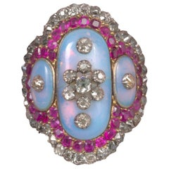 18th Century Ruby, Diamond, Opaline and Gold Ring