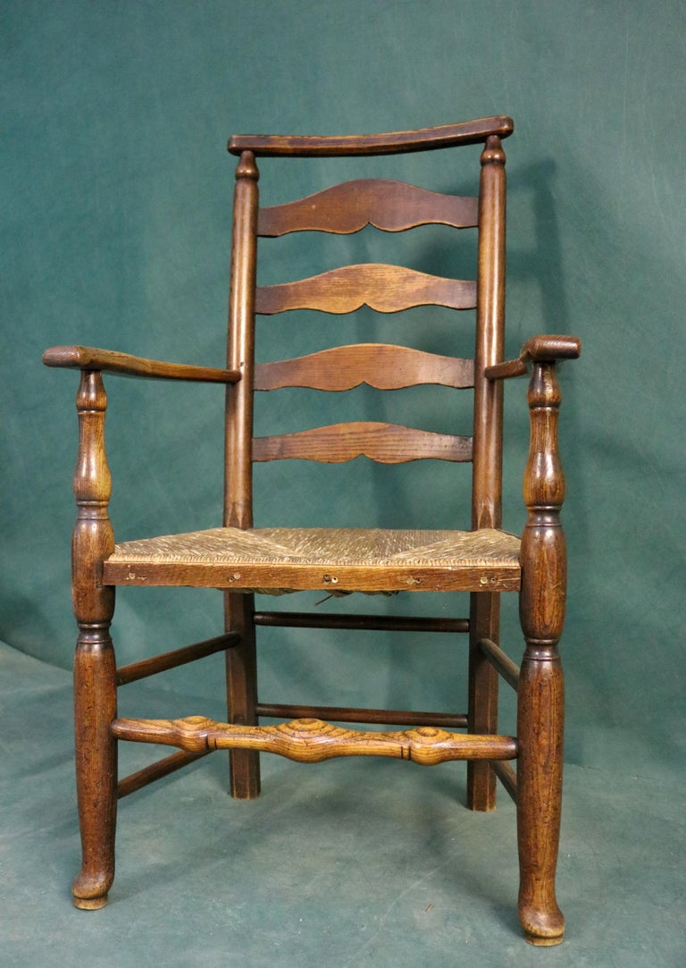 British 18th Century Rush Seat Chair with Elm Frame For Sale