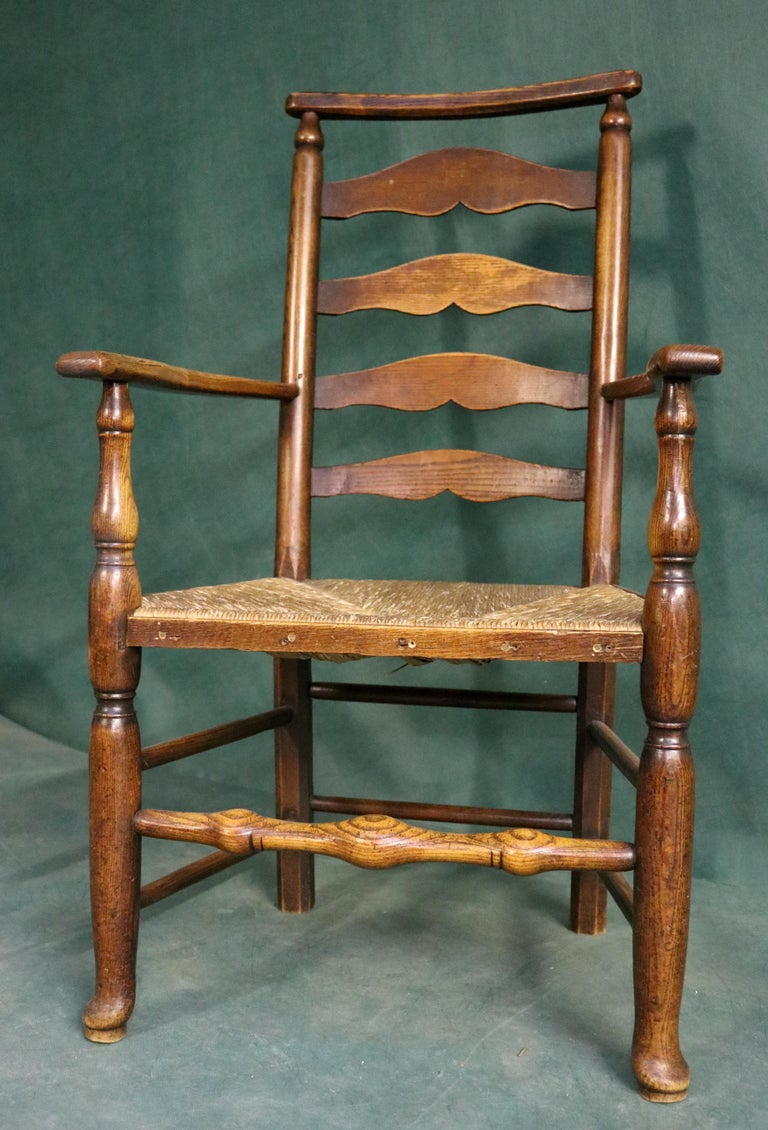 18th Century and Earlier 18th Century Rush Seat Chair with Elm Frame For Sale
