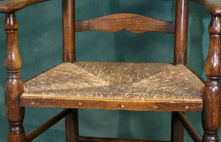 18th Century Rush Seat Chair with Elm Frame For Sale 1