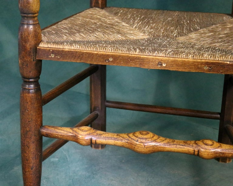 18th Century Rush Seat Chair with Elm Frame For Sale 2