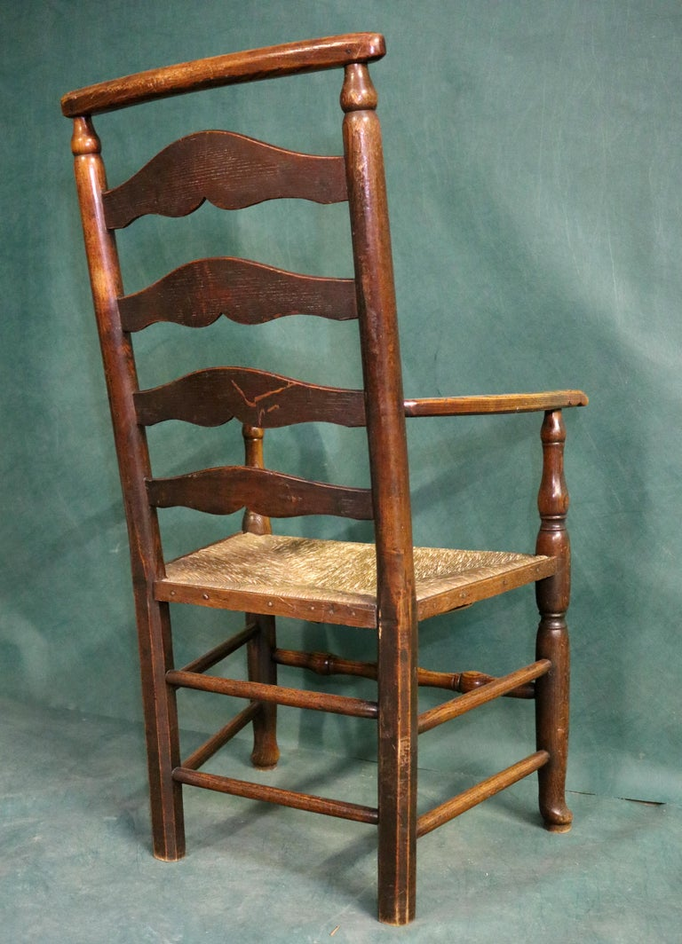 18th Century Rush Seat Chair with Elm Frame For Sale 3