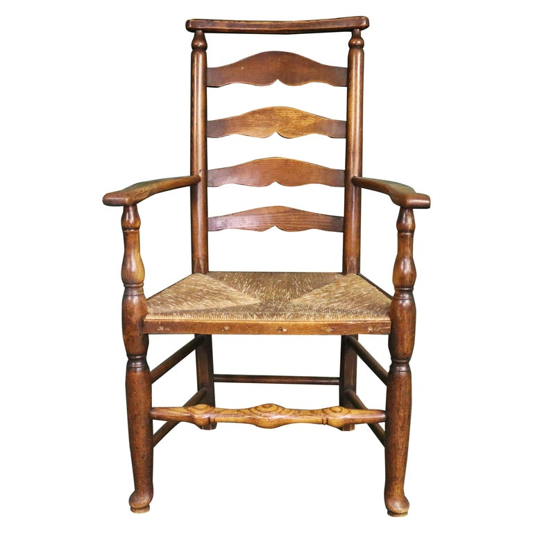 18th Century Rush Seat Chair with Elm Frame For Sale