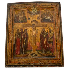 18th Century Russian Icon Depicting the Crucifixion of Christ