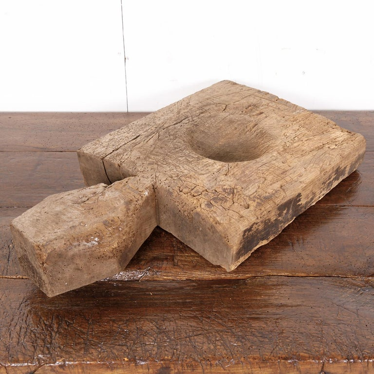 Wood 18th Century Rustic Country French Cutting Board or Chopping Block with Well For Sale