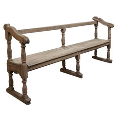 18th Century Rustic Country French Stripped Hall Bench