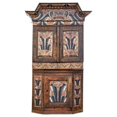 18th Century Rustic Hand Painted Swedish Cupboard