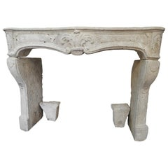 18th Century Rustic Louis XV Fireplace in French Limestone