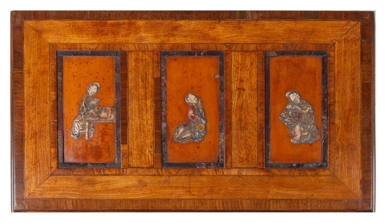 18th Century Satinwood Cabinet on Stand with Kangxi Period Panels For Sale 3