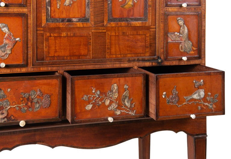 18th Century Satinwood Cabinet on Stand with Kangxi Period Panels For Sale 5