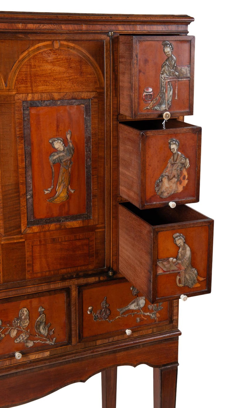 18th Century Satinwood Cabinet on Stand with Kangxi Period Panels For Sale 6