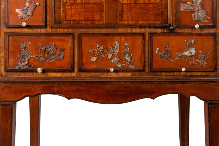 18th Century Satinwood Cabinet on Stand with Kangxi Period Panels For Sale 7