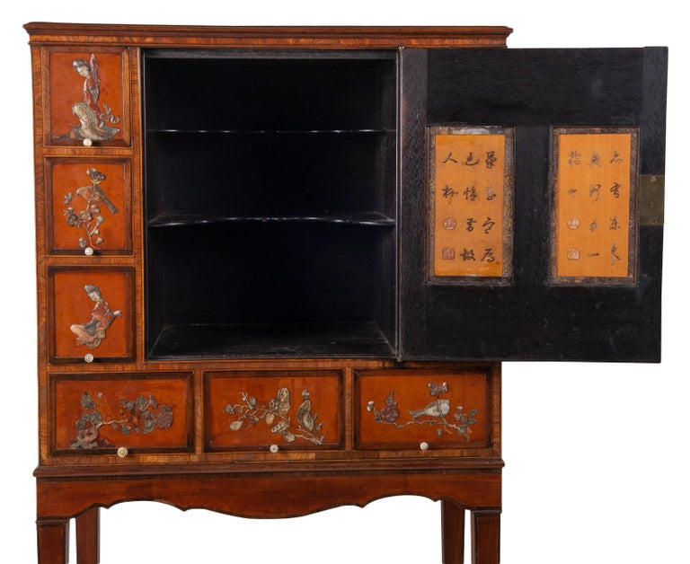18th Century Satinwood Cabinet on Stand with Kangxi Period Panels For Sale 8
