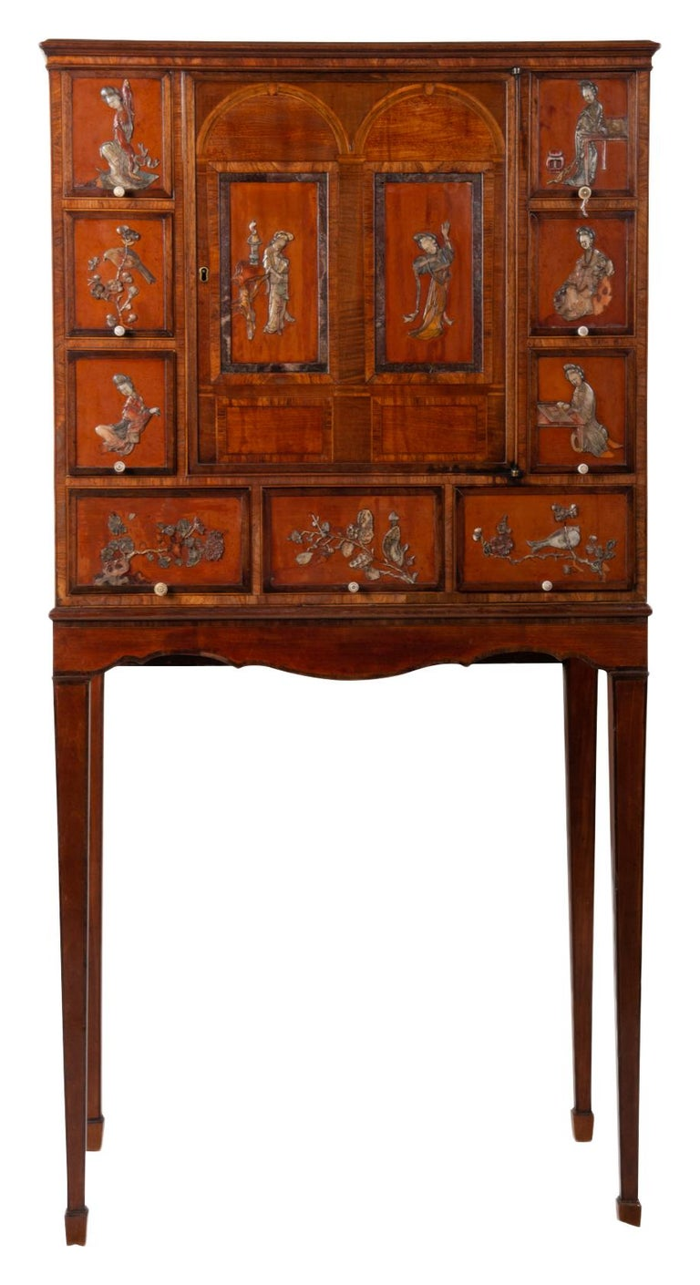 18th Century Satinwood Cabinet on Stand with Kangxi Period Panels For Sale 12