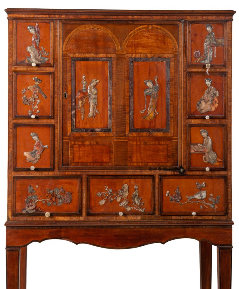 Chinese 18th Century Satinwood Cabinet on Stand with Kangxi Period Panels For Sale