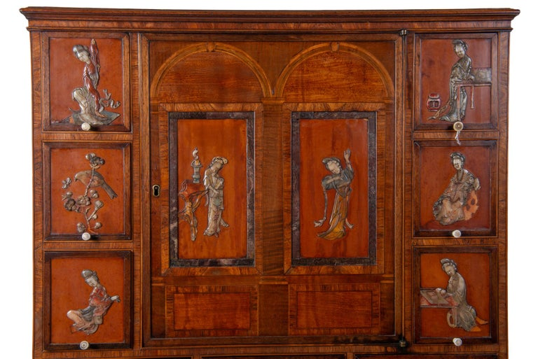 Veneer 18th Century Satinwood Cabinet on Stand with Kangxi Period Panels For Sale