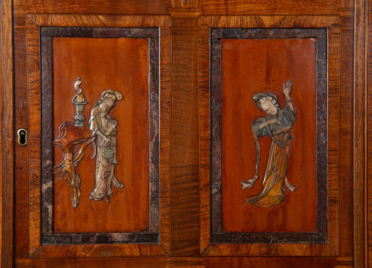 18th Century and Earlier 18th Century Satinwood Cabinet on Stand with Kangxi Period Panels For Sale