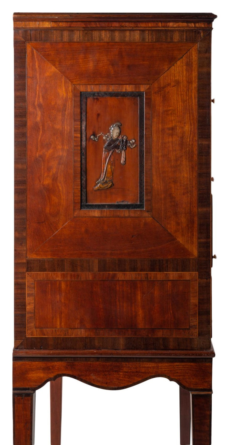 18th Century Satinwood Cabinet on Stand with Kangxi Period Panels For Sale 1