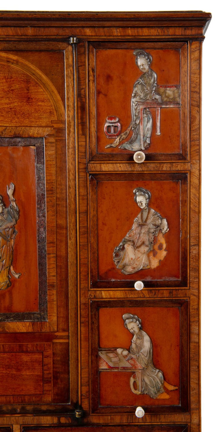18th Century Satinwood Cabinet on Stand with Kangxi Period Panels For Sale 2