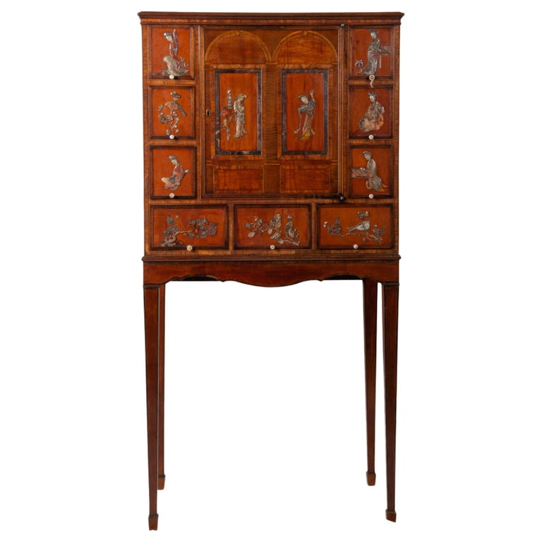18th Century Satinwood Cabinet on Stand with Kangxi Period Panels For Sale