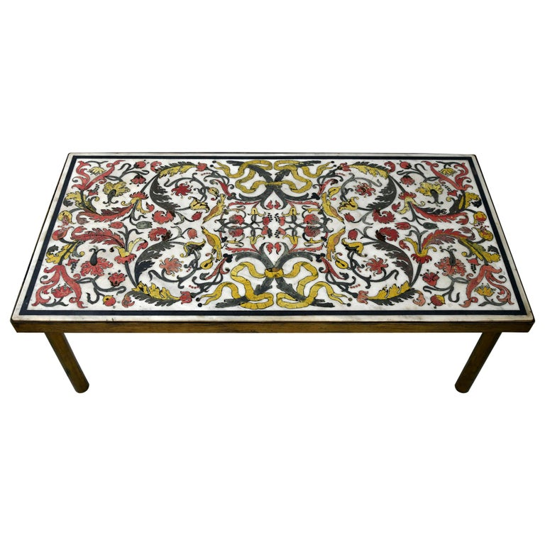 18th Century Scagliola Sofa Brass Table, Marble Top with Scagliola Midcentury For Sale
