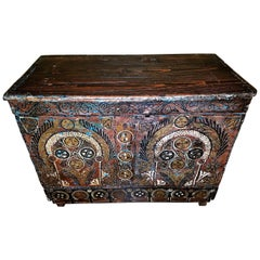 18th Century Scandinavian Hand-Painted Pine Chest