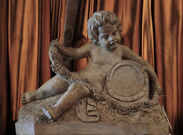 18th Century Sculpted Verona Marble Putto For Sale 2