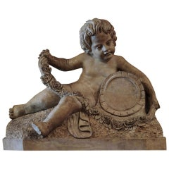 18th Century Sculpted Verona Marble Putto