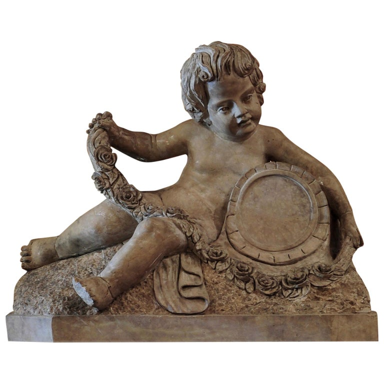 18th Century Sculpted Verona Marble Putto For Sale